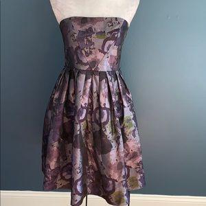 Donna Morgan   Strapless Purple Floral Flare Dress